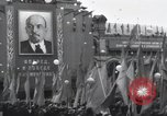 Image of Moscow parade celebrating 40th anniversary of Soviet Union Moscow Russia Soviet Union, 1957, second 60 stock footage video 65675021410