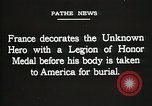 Image of American Unknown Soldier honored in France and transported to America France, 1921, second 56 stock footage video 65675021987