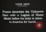 Image of American Unknown Soldier honored in France and transported to America France, 1921, second 58 stock footage video 65675021987
