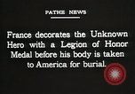 Image of American Unknown Soldier honored in France and transported to America France, 1921, second 60 stock footage video 65675021987