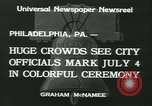 Image of Independence Day ceremony Philadelphia Pennsylvania USA, 1934, second 8 stock footage video 65675022431