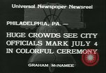 Image of Independence Day ceremony Philadelphia Pennsylvania USA, 1934, second 12 stock footage video 65675022431