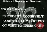 Image of President Roosevelt with Boy Scouts Ten Mile River New York USA, 1933, second 1 stock footage video 65675022453