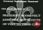 Image of President Roosevelt with Boy Scouts Ten Mile River New York USA, 1933, second 11 stock footage video 65675022453