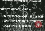 Image of Forest fire Forest Grove Oregon USA, 1933, second 10 stock footage video 65675022456