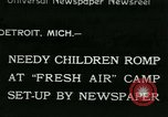 Image of Fresh Air Camp summer camp for poor children Sylvan Lake Michigan USA, 1933, second 1 stock footage video 65675022459