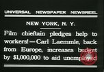 Image of Hollywood film magnate Carl Laemmle aboard the ship Europa New York City USA, 1931, second 10 stock footage video 65675022464