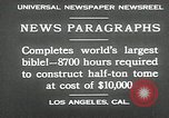 Image of largest Bible Los Angeles California USA, 1930, second 8 stock footage video 65675032148