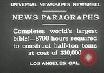 Image of largest Bible Los Angeles California USA, 1930, second 9 stock footage video 65675032148