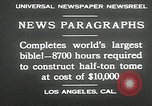 Image of largest Bible Los Angeles California USA, 1930, second 10 stock footage video 65675032148