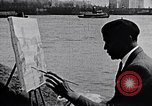 Image of Palmer Hayden painting the Brooklyn bridge New York City USA, 1937, second 4 stock footage video 65675032300