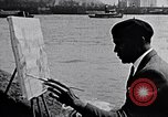 Image of Palmer Hayden painting the Brooklyn bridge New York City USA, 1937, second 5 stock footage video 65675032300
