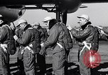 Image of pre-flight inspection of Convair B-36 and crew Fort Worth Texas USA, 1951, second 17 stock footage video 65675032420