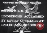Image of Colonel Charles Augustus Lindberh Moscow Russia Soviet Union, 1933, second 7 stock footage video 65675032948