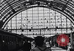 Image of Frankfurt Central Station one year after World War 2 Frankfurt Germany, 1946, second 60 stock footage video 65675040670