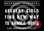 Image of Archery girls Los Angeles California USA, 1937, second 7 stock footage video 65675041450