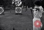 Image of Archery girls Los Angeles California USA, 1937, second 22 stock footage video 65675041450