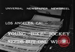 Image of unicycle Los Angeles California USA, 1933, second 6 stock footage video 65675042743