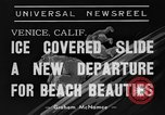 Image of ice covered slide Venice Beach Los Angeles California USA, 1938, second 7 stock footage video 65675042786