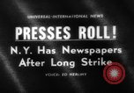 Image of New York newspaper strike ends New York City USA, 1963, second 1 stock footage video 65675042825