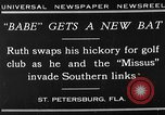 Image of Babe Ruth playing golf Saint Petersburg Florida USA, 1930, second 3 stock footage video 65675050771