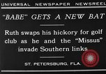 Image of Babe Ruth playing golf Saint Petersburg Florida USA, 1930, second 5 stock footage video 65675050771