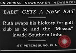 Image of Babe Ruth playing golf Saint Petersburg Florida USA, 1930, second 8 stock footage video 65675050771