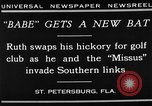 Image of Babe Ruth playing golf Saint Petersburg Florida USA, 1930, second 9 stock footage video 65675050771