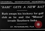 Image of Babe Ruth playing golf Saint Petersburg Florida USA, 1930, second 13 stock footage video 65675050771