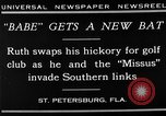 Image of Babe Ruth playing golf Saint Petersburg Florida USA, 1930, second 14 stock footage video 65675050771