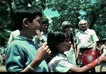 Image of Clown entertains Vietnamese refugee children Florida United States USA, 1975, second 45 stock footage video 65675050952