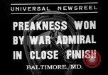Image of War Admiral winning the Preakness stakes Baltimore Maryland USA, 1937, second 2 stock footage video 65675051417