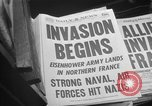 Image of Newspaper headlines tell of Allied invasion New York City USA, 1944, second 13 stock footage video 65675051457