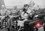 Image of President Roosevelt and Winston Churchill outside at Quebec Conference Quebec Canada, 1943, second 13 stock footage video 65675051786