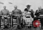 Image of President Roosevelt and Winston Churchill outside at Quebec Conference Quebec Canada, 1943, second 15 stock footage video 65675051786