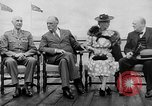 Image of President Roosevelt and Winston Churchill outside at Quebec Conference Quebec Canada, 1943, second 17 stock footage video 65675051786