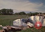 Image of wrecked trailer home Rapid City South Dakota USA, 1972, second 36 stock footage video 65675052543