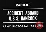 Image of USS Hancock on fire Pacific Ocean, 1945, second 5 stock footage video 65675052932