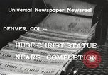 Image of huge statue of Christ Denver Colorado USA, 1934, second 2 stock footage video 65675061010