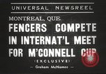 Image of fencers Montreal Quebec Canada, 1938, second 4 stock footage video 65675061119