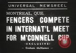 Image of fencers Montreal Quebec Canada, 1938, second 7 stock footage video 65675061119