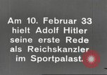 Image of Adolf Hitler's first speech as Reich Chancellor Berlin Germany, 1933, second 5 stock footage video 65675061178