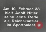 Image of Adolf Hitler's first speech as Reich Chancellor Berlin Germany, 1933, second 6 stock footage video 65675061178