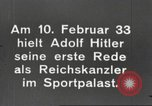 Image of Adolf Hitler's first speech as Reich Chancellor Berlin Germany, 1933, second 9 stock footage video 65675061178