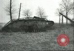 Image of captured British Mark IV heavy tank Cambrai France, 1917, second 35 stock footage video 65675061615