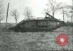 Image of captured British Mark IV heavy tank Cambrai France, 1917, second 40 stock footage video 65675061615