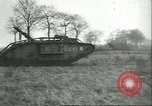 Image of captured British Mark IV heavy tank Cambrai France, 1917, second 44 stock footage video 65675061615