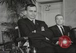 Image of President John F Kennedy awards handicapped man Massachusetts United States USA, 1963, second 16 stock footage video 65675061766