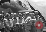 Image of Douglas SBD Dauntless aircraft start and taxi Pearl Harbor Hawaii USA, 1942, second 37 stock footage video 65675061841