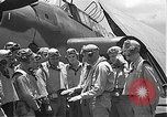 Image of Douglas SBD Dauntless aircraft start and taxi Pearl Harbor Hawaii USA, 1942, second 41 stock footage video 65675061841